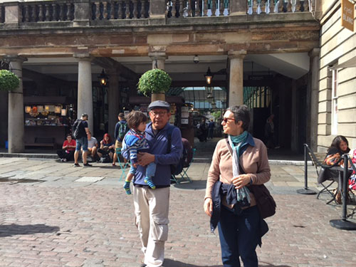 Rafael with his grandparents  in Covent Garden