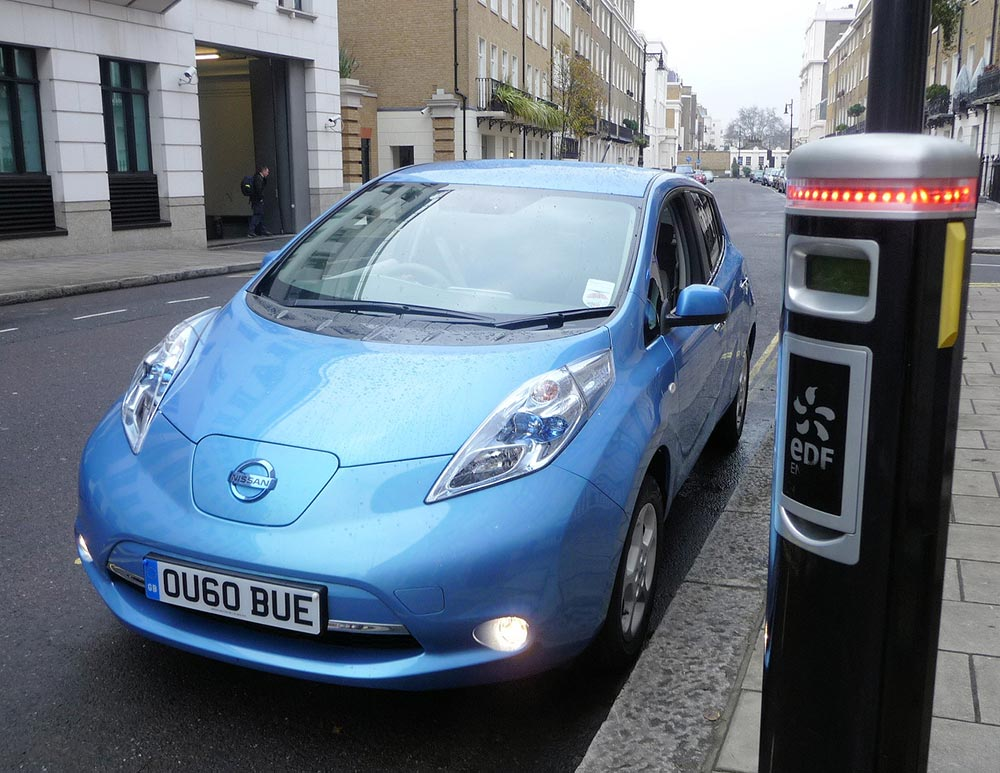 An electric car and charging point